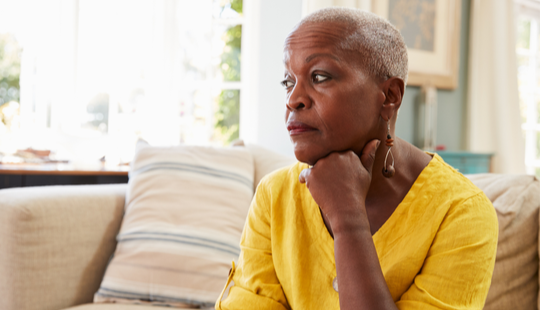 African American Woman Looking Contemplative